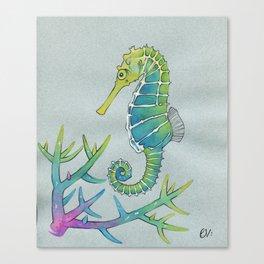 Neon Seahorse Canvas Print