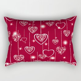 Bright openwork hearts on a red background. Rectangular Pillow