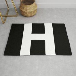Letter H (White & Black) Rug