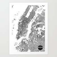 new york map Art Prints featuring New York Map by Maps Factory