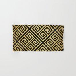 Black and gold high fashion Greek key pattern Hand & Bath Towel