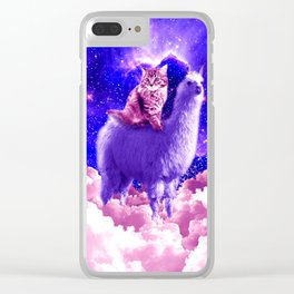 Outer Space Galaxy Kitty Cat Riding On Llama Clear iPhone Case