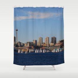 Summer regatta at Elliot Bay, Seattle, WA Shower Curtain