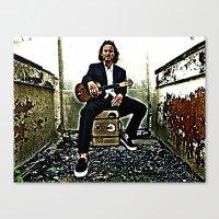 eddie vedder Canvas Prints featuring Eddie Vedder | Oil Painting by Silvio Ledbetter