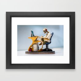 Dead at the Screen (Skeleton) Framed Art Print