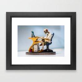 Dead at the Screen (Skeleton) Framed Art Print