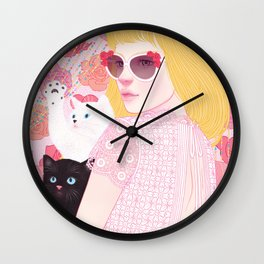 Hey there kitty! PINK Wall Clock