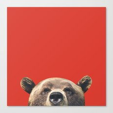 Bear - Red Canvas Print