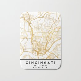 CINCINNATI OHIO CITY STREET MAP ART Bath Mat