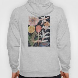Mixed Flowers with Tulip on Black Hoody