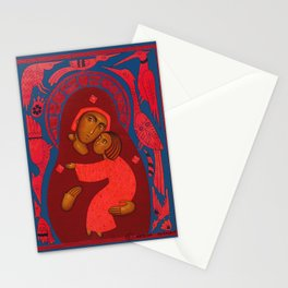 modern folk icon - Madonna with birds 1 Stationery Cards