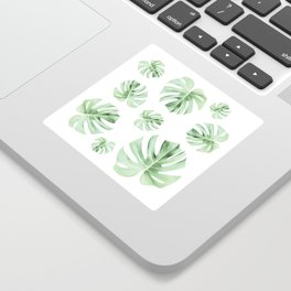 Tropical green leaves on white Sticker
