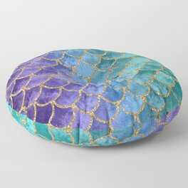 Blue Mermaid Fish Scales Ombre 2 Floor Pillow