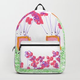 Four Pink Potted Plants Backpack