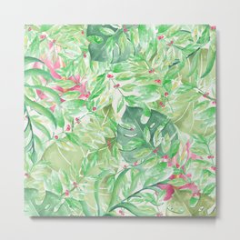 Hand painted watercolor green pink tropical leaves floral Metal Print