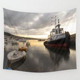 Teignmouth Twilight Trawler Wall Tapestry