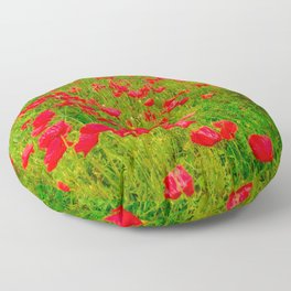 Poppies in the fields Floor Pillow