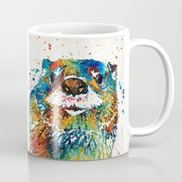 otters Mugs featuring Otter Art - Ottertude - By Sharon Cummings by Sharon Cummings