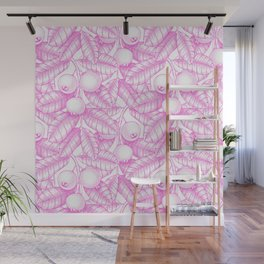 Modern hand painted pink white floral guava pattern Wall Mural