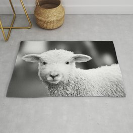 Lamb in Black and White Rug