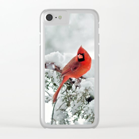 Cardinal on Snowy Branch #2 Clear iPhone Case