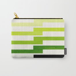 Minimalist Mid Century Modern Sap Green Watercolor Painting Lightning Bolt Zig Zag Pattern With Blac Carry-All Pouch