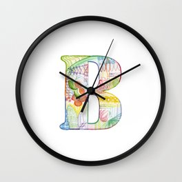Letter B - Watercolor Monogram - Colorful Lettering - Watercolor Letter Print - Watercolor Initial Wall Clock