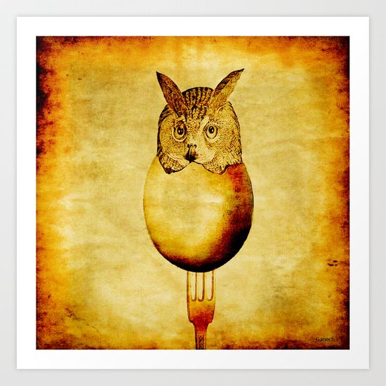 The hatching of owls Art Print