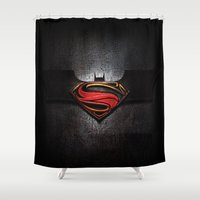 superman Shower Curtains featuring Superman by neutrone