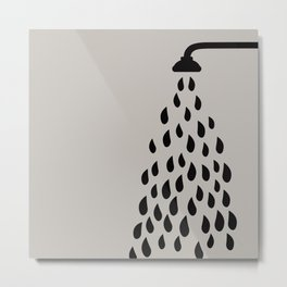 Shower head spout drops of water silhouette grey background Metal Print