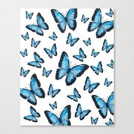 Blue butterfly pattern Canvas Print