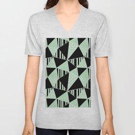 Black, green polygonal geometric pattern. Unisex V-Neck