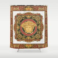 givenchy Shower Curtains featuring Classic Versace by Goldflakes
