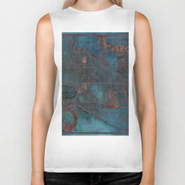 Antique Map Teal Blue and Copper Biker Tank