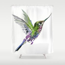 Flying Bird hummingbird, green minimalist bird art design Shower Curtain