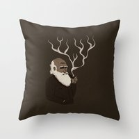 darwin Throw Pillows featuring Darwin ponders evolution by science fried art