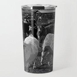Black & White California Catte Yard Pencil Drawing Photo Travel Mug