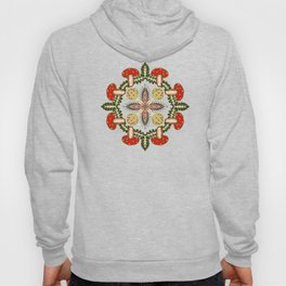 Fly Agaric Toadstool Forest Folkart, Red Fungi Mushroom Design with Trees Hoody