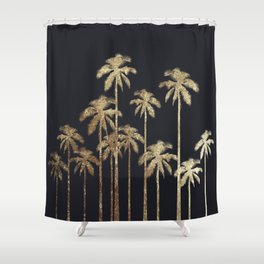 Glamorous Gold Tropical Palm Trees on Black Shower Curtain