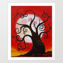 Funky Tree in Love Art Print