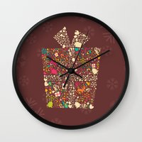 gift card Wall Clocks featuring Christmas Gift 01 by BlueLela