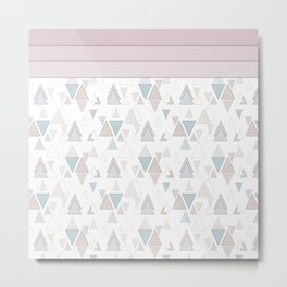 Geometric pattern , pastel triangles Metal Print