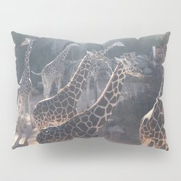Giraffe National Park // Spotted Long Neck Graceful Creatures in Wildlife Preserve Pillow Sham
