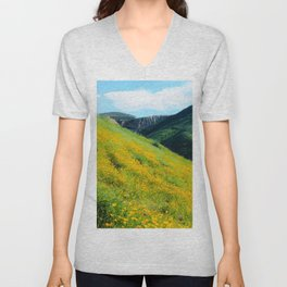 yellow poppy flower field with green leaf and green mountain and cloudy blue sky in summer Unisex V-Neck
