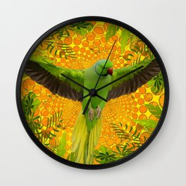 MAGNIFICENT GREEN PARROT GOLD JUNGLE MODERN ART Wall Clock