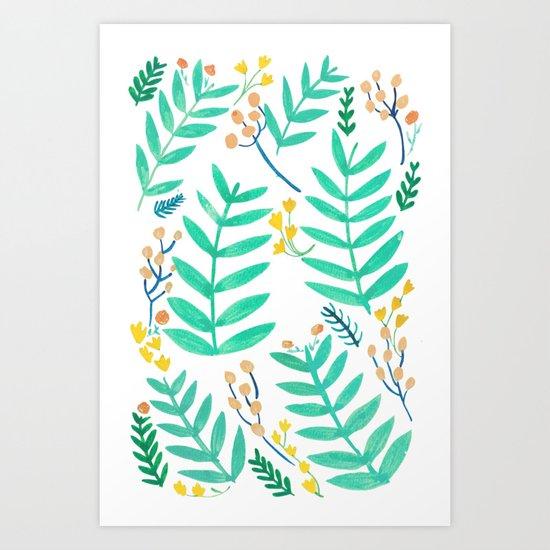 Turquoise Jungle Art Print