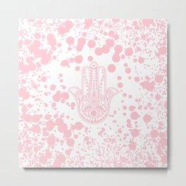 Modern blush pink confetti Hamsa Hand Of Fatima Metal Print