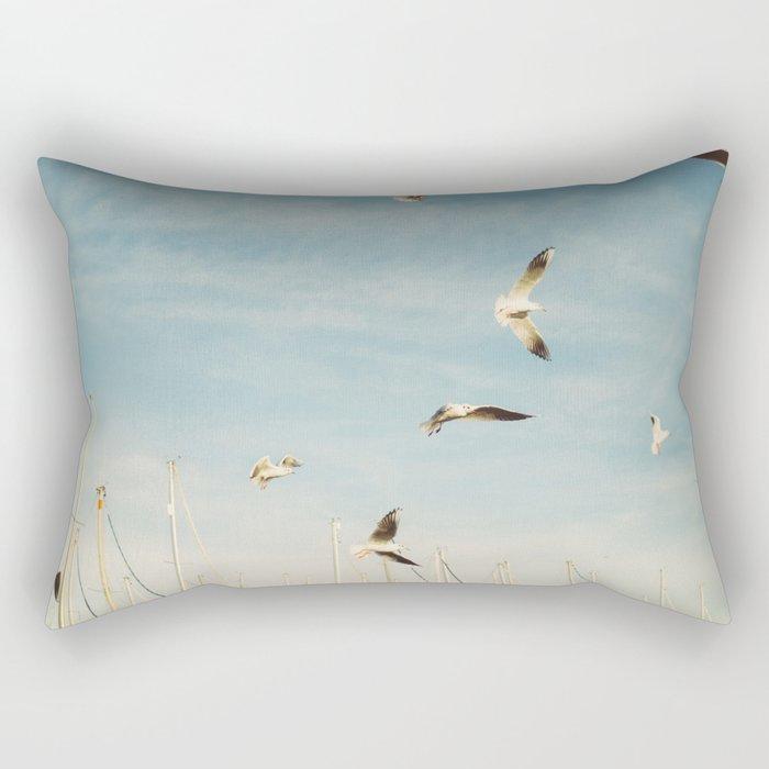 Seagulls Flying In The Sky Rectangular Pillow