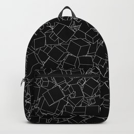 Cubic B&W inverted / Lineart texture of 3D cubes Backpack