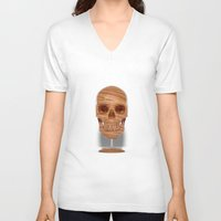 wooden V-neck T-shirts featuring Wooden Skull by Luke Dwyer Design